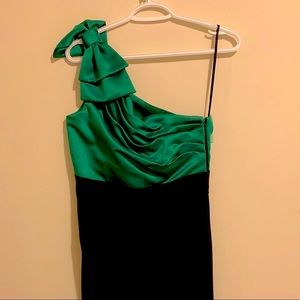 One Shoulder Green/black dress with bow